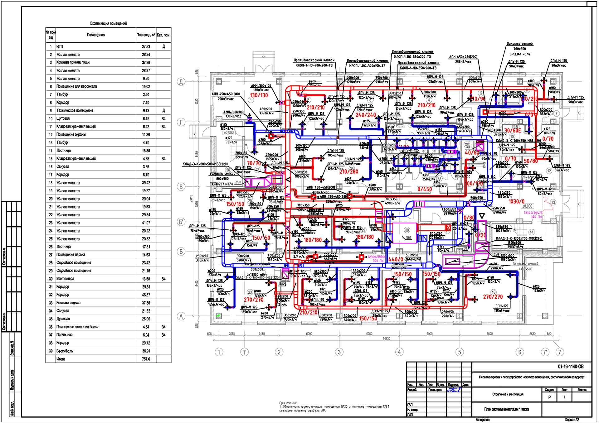 Пример плана системы вентиляции