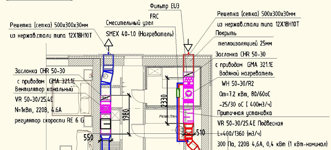 Приточная и вытяжная установка в подвесном потолке бассейном-проект
