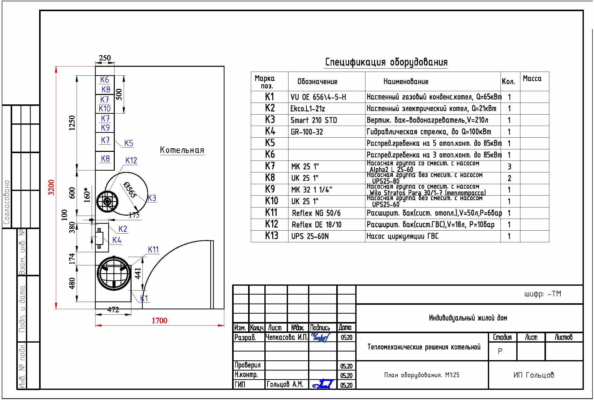 План расположения оборудования по 1 стене для котельной в частном доме