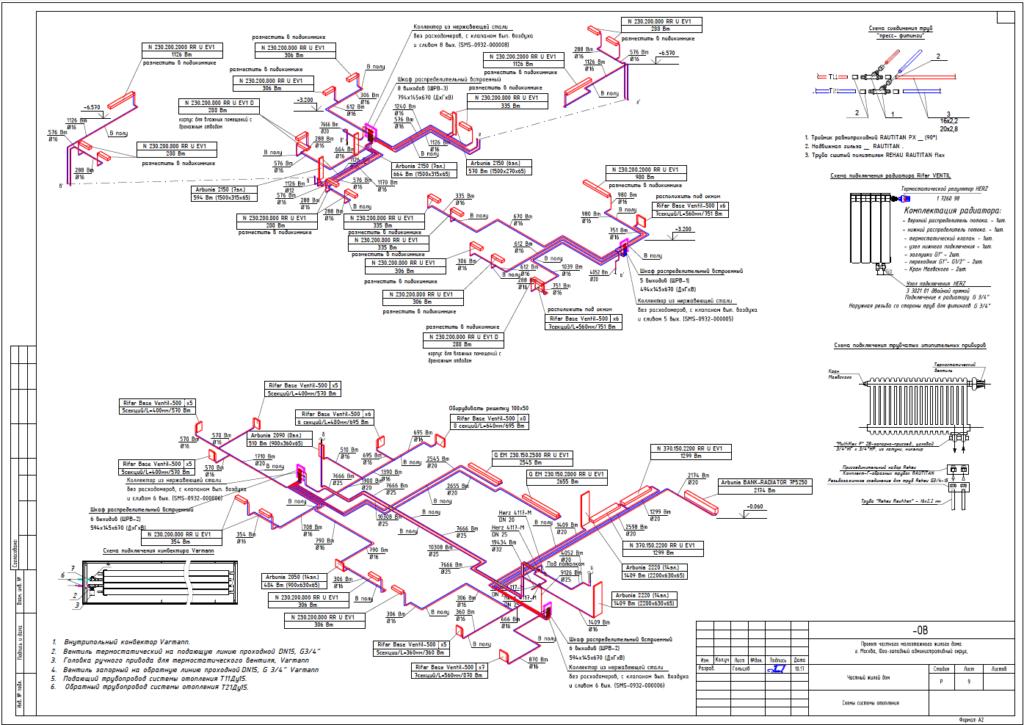 Схема отопления здания пример